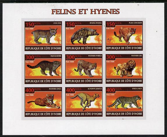 Ivory Coast 2009 Big cats & Hyenas imperf sheetlet containing 9 values unmounted mint