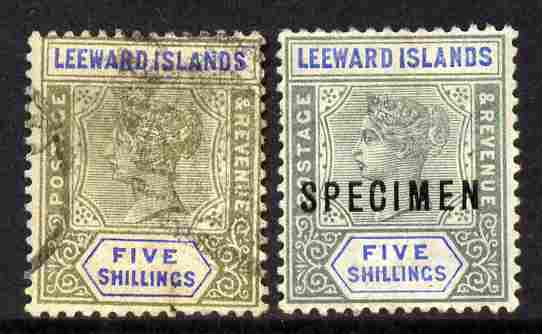 Leeward Islands 1890 QV 5s green & blue a used forgery on genuine Crown CA paper with Specimen example as comparison as SG 8  (Ex M N Oliver)