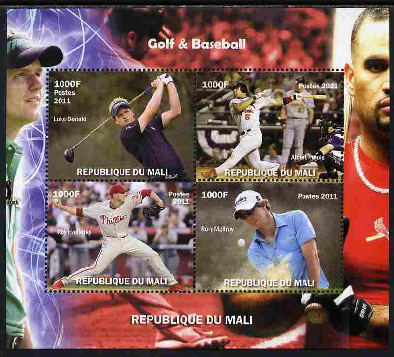 Mali 2011 Golf & Baseball perf sheetlet containing 4 values unmounted mint. Note this item is privately produced and is offered purely on its thematic appeal