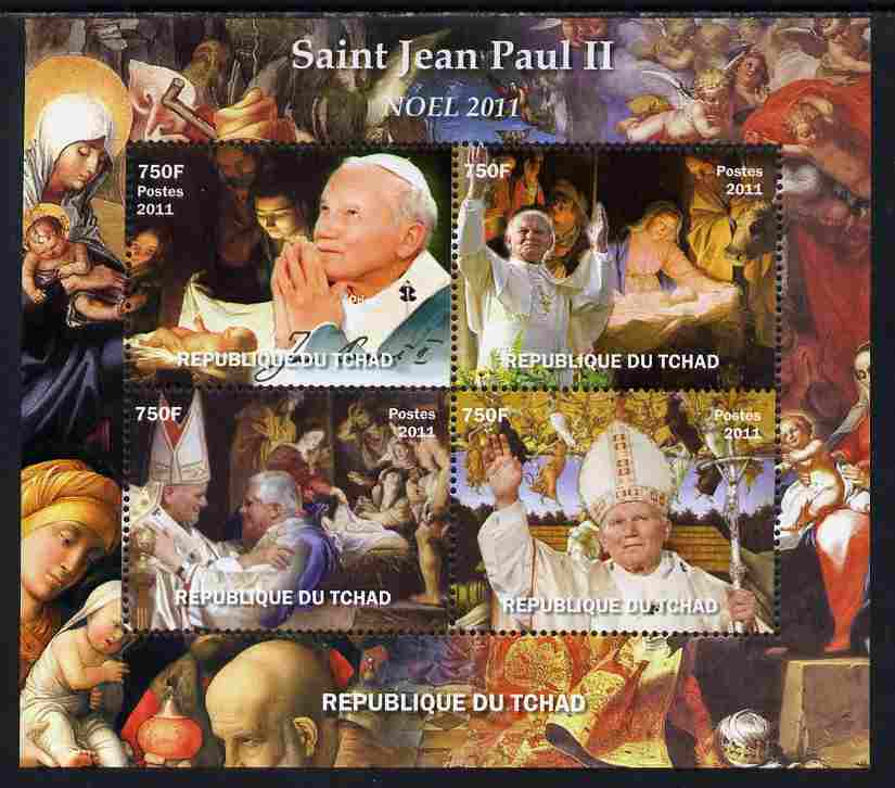 Chad 2011 St John-Paul II #1 perf sheetlet containing 4 values unmounted mint. Note this item is privately produced and is offered purely on its thematic appeal