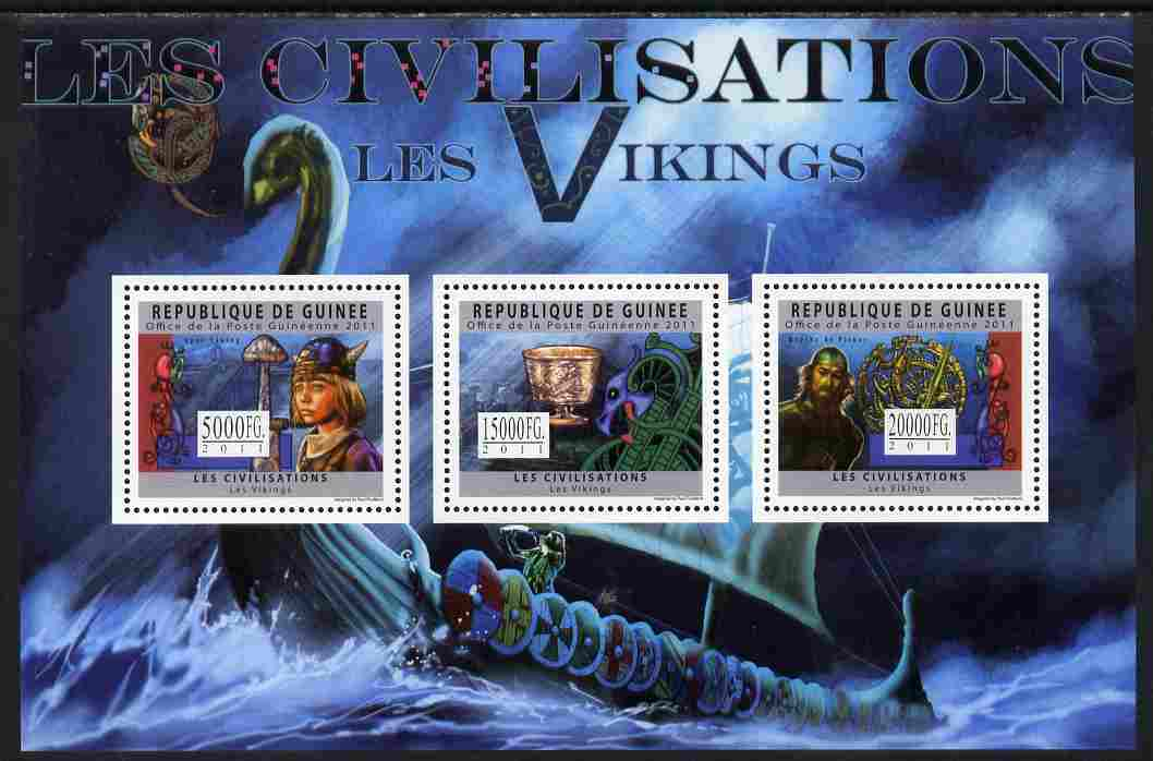 Guinea - Conakry 2011 Civilizations - The Vikings perf sheetlet containing 3 values unmounted mint