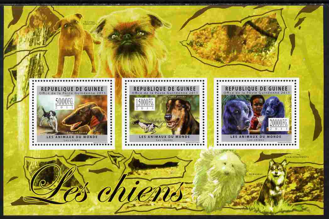 Guinea - Conakry 2011 Dogs perf sheetlet containing 3 values unmounted mint