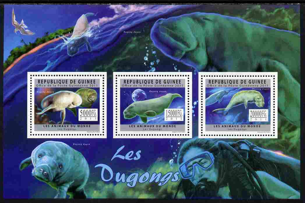 Guinea - Conakry 2011 Dugongs perf sheetlet containing 3 values unmounted mint