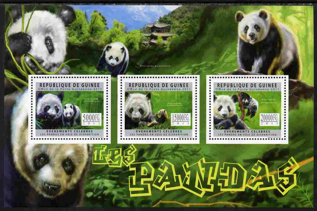 Guinea - Conakry 2011 Pandas perf sheetlet containing 3 values unmounted mint