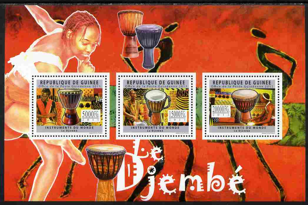 Guinea - Conakry 2011 Musical Instruments - Djembe Drums perf sheetlet containing 3 values unmounted mint