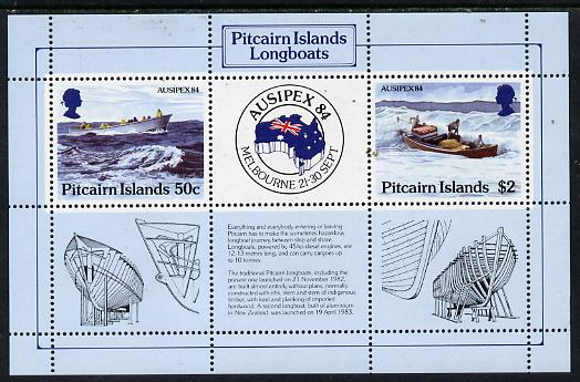 Pitcairn Islands 1984 Ausipex '84 Stamp Exhibition (Longboats) m/sheet, SG MS 263 unmounted mint