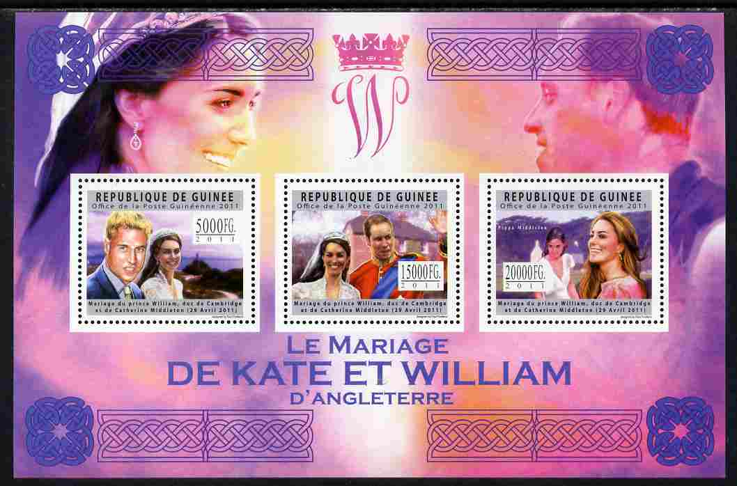 Guinea - Conakry 2011 Royal Wedding - William & Kate perf sheetlet containing 3 values unmounted mint