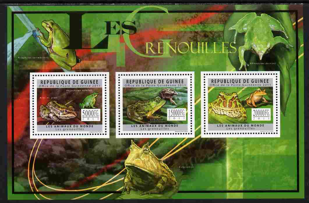 Guinea - Conakry 2011 Frogs perf sheetlet containing 3 values unmounted mint