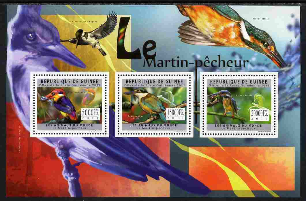 Guinea - Conakry 2011 Kingfishers perf sheetlet containing 3 values unmounted mint