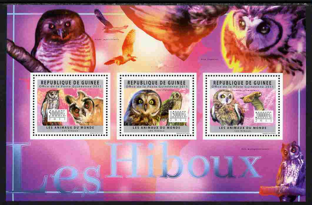 Guinea - Conakry 2011 Owls perf sheetlet containing 3 values unmounted mint
