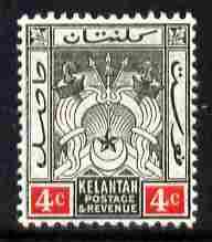 Malaya - Kelantan 1911-15 MCA 4c black & red mounted mint SG 3