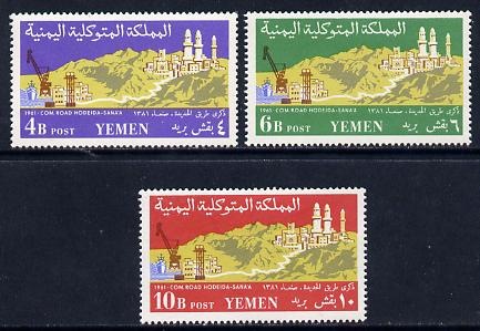 Yemen - Kingdom 1961 Hodeida-Sana Highway unmounted mint set of 3, SG 156-58