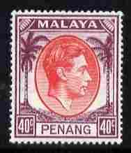 Malaya - Penang 1949-52 KG6 40c red & purple mounted mint SG 18