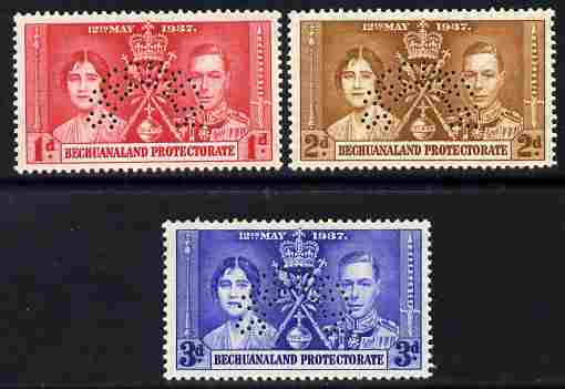 Bechuanaland 1937 KG6 Coronatio set of 3 perforated SPECIMEN fine with gum and only 415 produced