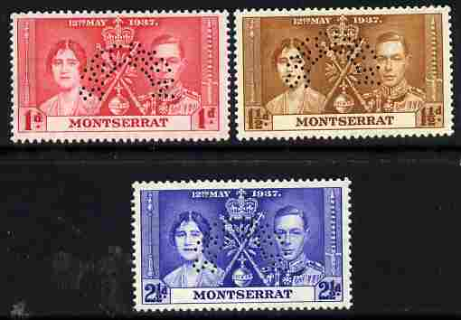 Montserrat 1937 KG6 Coronatio set of 3 perforated SPECIMEN fine with gum and only 415 produced
