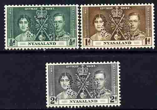 Nyasaland 1937 KG6 Coronatio set of 3 perforated SPECIMEN fine with gum and only 415 produced