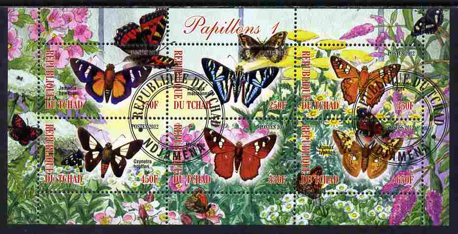 Chad 2012 Butterflies #1 perf sheetlet containing 6 values cto used