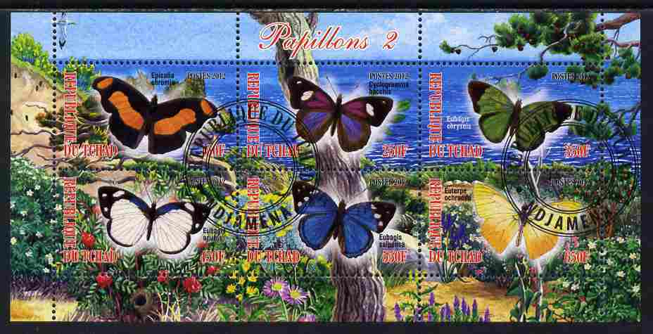 Chad 2012 Butterflies #2 perf sheetlet containing 6 values cto used