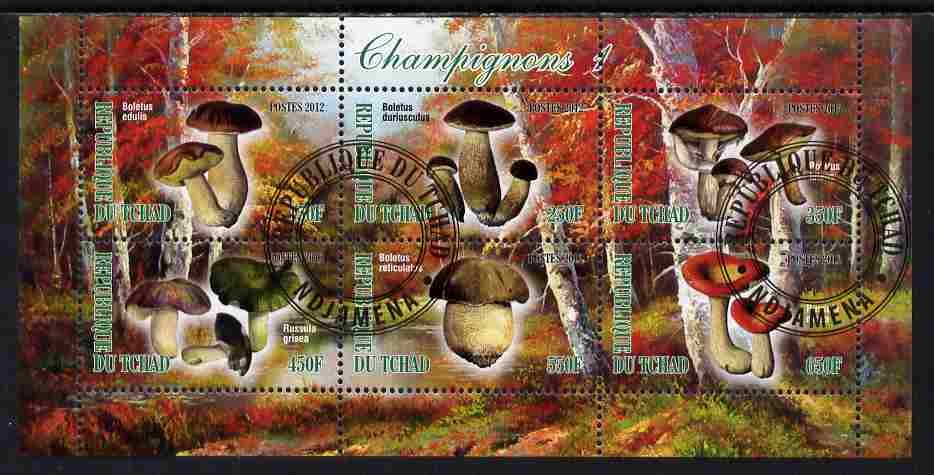 Chad 2012 Mushrooms #1 perf sheetlet containing 6 values cto used