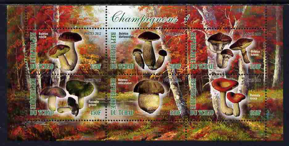 Chad 2012 Mushrooms #1 perf sheetlet containing 6 values unmounted mint