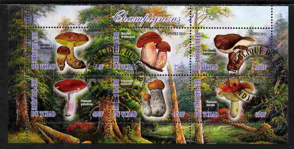 Chad 2012 Mushrooms #2 perf sheetlet containing 6 values cto used