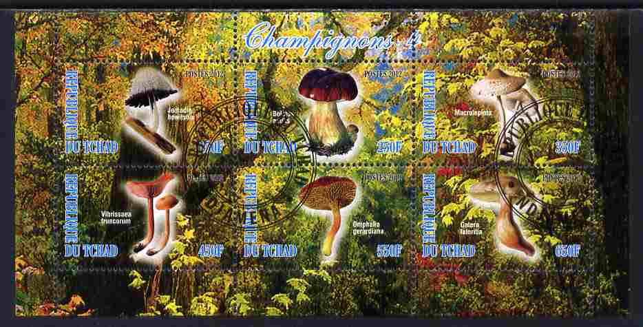 Chad 2012 Mushrooms #4 perf sheetlet containing 6 values cto used