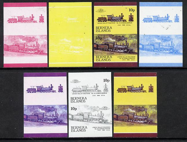 Bernera 1983 Locomotives #2 (Lehigh Valley Railroad) 10p set of 7 se-tenant progressive proof pairs comprising the 4 individual colours plus 2, 3 and all 4 colour composites (7 proof pairs) unmounted mint*