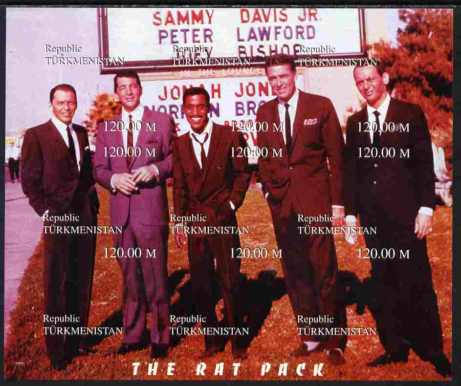Turkmenistan 1999 The Rat Pack (Sinatra, Davis Jr, Dean Martin etc) composite imperf sheetlet containing complete set of 9 values unmounted mint. Note this item is privately produced and is offered purely on its thematic appeal