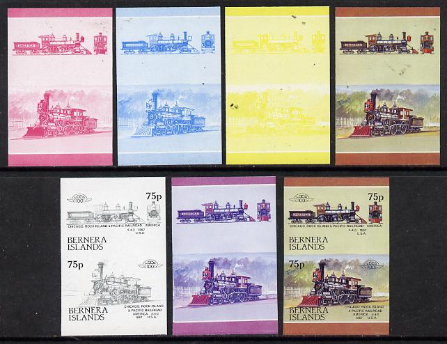 Bernera 1983 Locomotives #2 (Chicago, Rock Island & Pacific Railroad) 75p set of 7 se-tenant progressive proof pairs comprising the 4 individual colours plus 2, 3 and all 4 colour composites (7 proof pairs) unmounted mint*