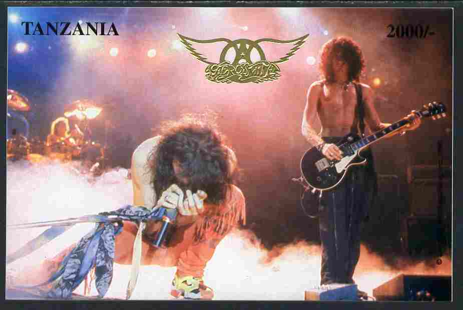 Tanzania 1996 Aerosmith #1 imperf deluxe m/sheet 2,000s value on thin card with gold embossing and numbered on reverse unmounted mint