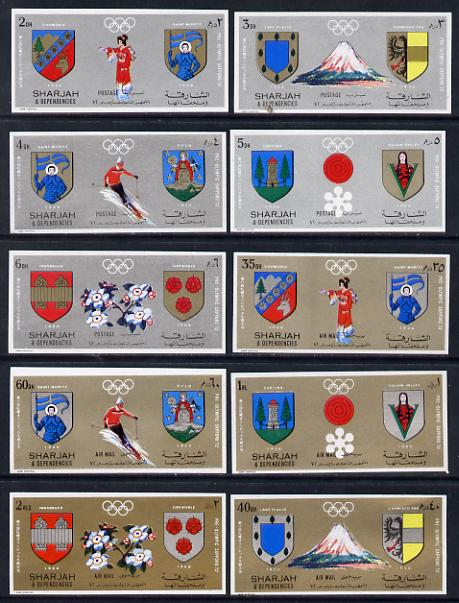 Sharjah 1972 Sapporo Winter Pre-Winter Olympics imperf set of 10 unmounted mint (Mi 825-34B)