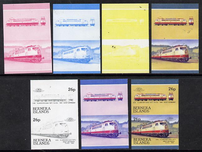 Bernera 1983 Locomotives #2 (DB Class EO3) 26p set of 7 se-tenant progressive proof pairs comprising the 4 individual colours plus 2, 3 and all 4 colour composites (7 proof pairs) unmounted mint*