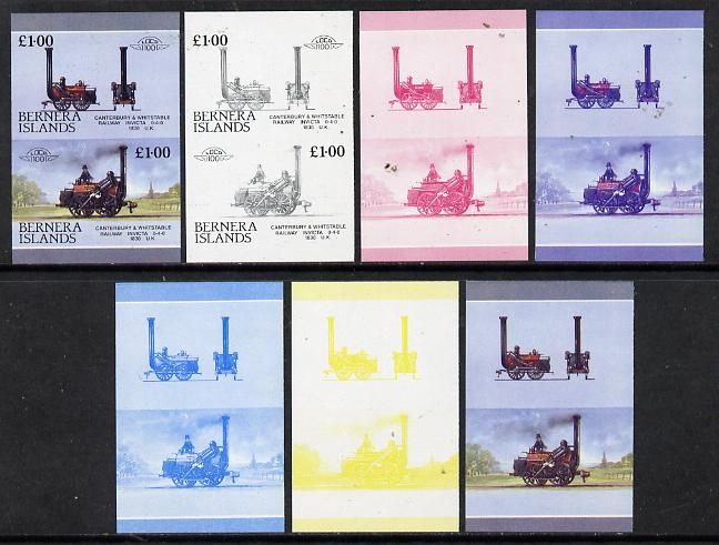 Bernera 1983 Locomotives #2 (Canterbury & Whitstable Rly) \A31 set of 7 se-tenant progressive proof pairs comprising the 4 individual colours plus 2, 3 and all 4 colour composites (7 proof pairs) unmounted mint*