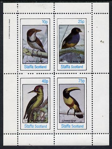 Staffa 1982 Birds #19 (Kingfisher, Woodpecker, etc) perf  set of 4 values (10p to 75p) unmounted mint
