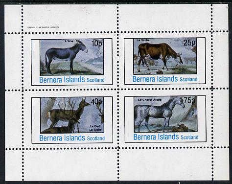 Bernera 1982 Animals (Deer, Cow, Horse & Donkey) perf  set of 4 values (10p to 75p) unmounted mint