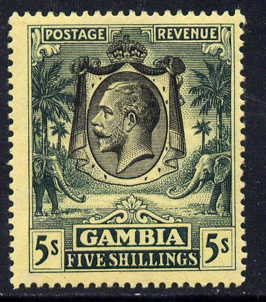 Gambia 1922-29 KG5 MCA Elephant & Palm 5s black & green on yellow mounted mint SG 121