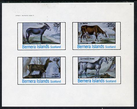 Bernera 1982 Animals (Deer, Cow, Horse & Donkey) imperf  set of 4 values (10p to 75p) unmounted mint
