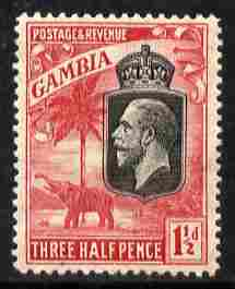 Gambia 1922-29 KG5 Script CA Elephant & Palm 1.5d black & rose mounted mint SG 125