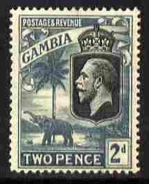 Gambia 1922-29 KG5 Script CA Elephant & Palm 2d black & grey mounted mint SG 126