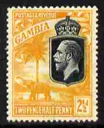 Gambia 1922-29 KG5 Script CA Elephant & Palm 2.5d black & orange-yellow mounted mint SG 127