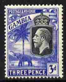 Gambia 1922-29 KG5 Script CA Elephant & Palm 3d black & bright blue mounted mint SG 128
