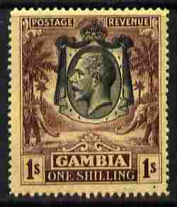 Gambia 1922-29 KG5 Script CA Elephant & Palm 1s black & purple on yellow mounted mint SG 134