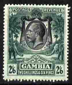 Gambia 1922-29 KG5 Script CA Elephant & Palm 2s6d black & deep green mounted mint SG 137