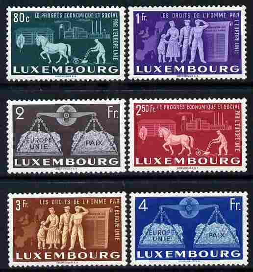 Luxembourg 1951 To Promote United Europe set of 6 very lightly mounted mint SG 543-8