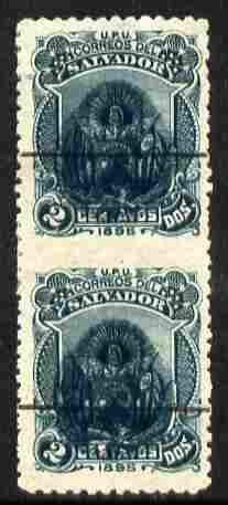 El Salvador 1895 2c green vert pair with Arms opt imperf between, mint small thin