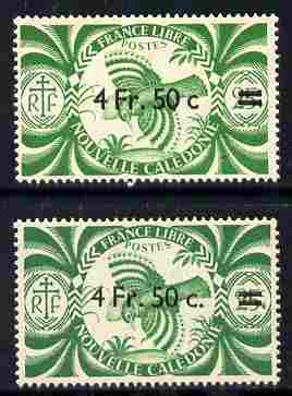New Caledonia 1945 4f50 on 25c green Kagu two examples with different surcharges (with and without stops) both unmounted mint