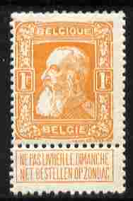 Belgium 1905 Leopold 1f orange with tab lightly mounted mint SG 104a