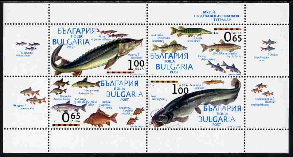 Bulgaria 2011 Fish perf sheetlet containing 4 values unmounted mint
