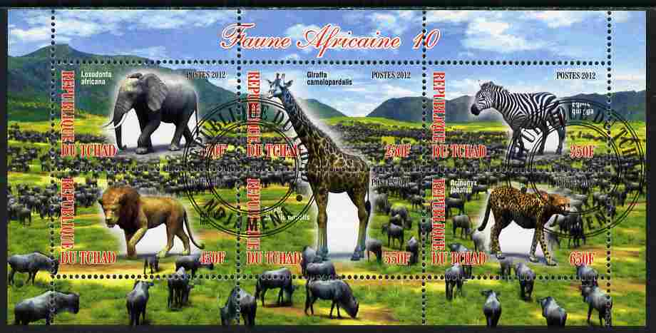 Chad 2012 African Fauna #10 perf sheetlet containing 6 values cto used