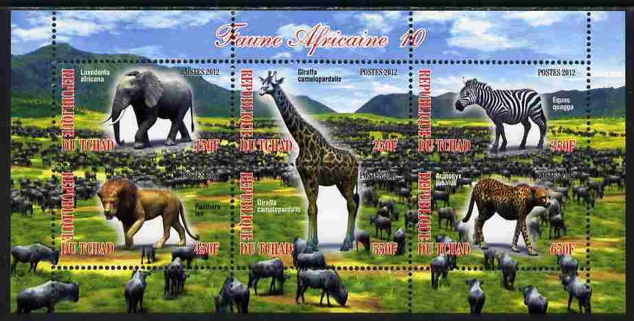 Chad 2012 African Fauna #10 perf sheetlet containing 6 values unmounted mint